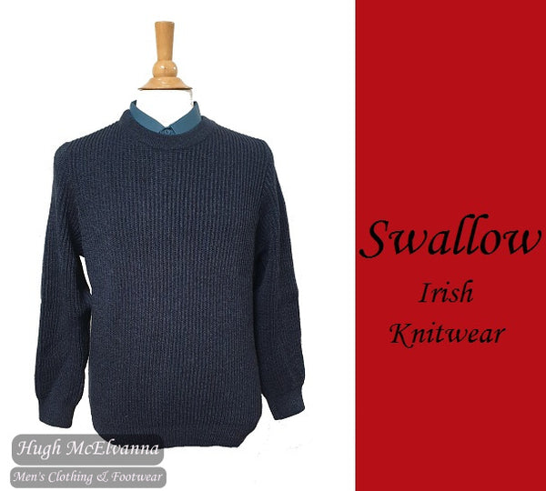 Fisherman Knit Blue Round Neck Pullover By Swallow