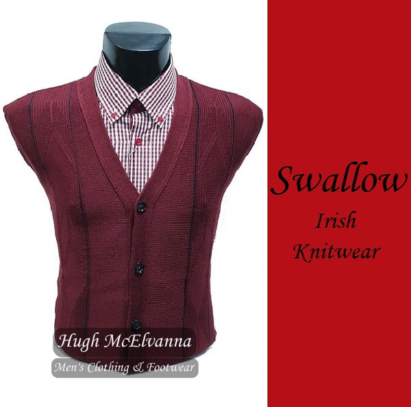 Men's Wine Design Cardigan by Swallow Knitwear