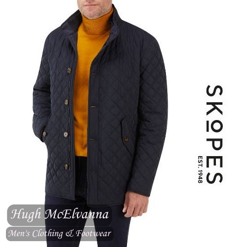 'PEMBRIDGE' Navy Quilted Car Coat by Skopes