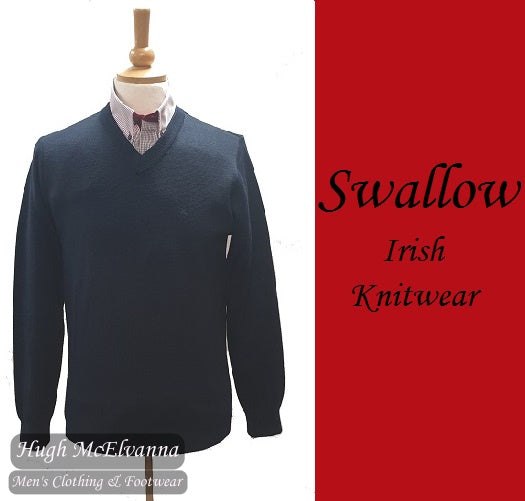 Navy V-Neck Pullover by Swallow Style: 10GG