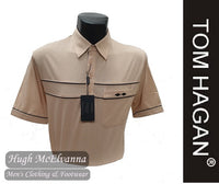 Beige Golf Shirt With Mesh Design & Pocket by Tom Hagan Style: 972