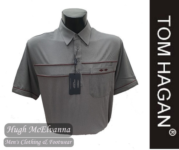 Charcoal Golf Shirt With Mesh Design & Pocket by Tom Hagan Style: 972