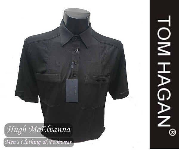 Black Golf Shirt With Mesh Side Design & Twin Pockets by Tom Hagan Style: 975