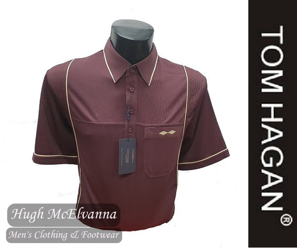 Burgundy Golf Shirt With Mesh Side Design by Tom Hagan Style: 991