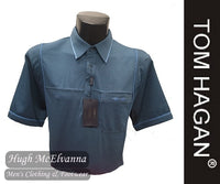 Petrol Golf Shirt With Mesh Side Design by Tom Hagan Style: 991
