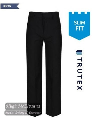 Trutex Black Slim Fit School Trouser With Adjustable Waistband