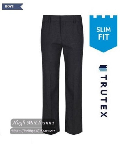 Trutex Grey Slim Fit School Trouser With Adjustable Waistband