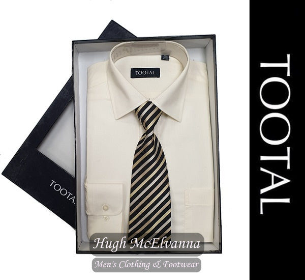Tootal Cream Boxed Shirt & Tie Set
