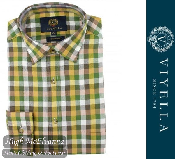 Viyella Long Sleeve Gold Check Shirt Style: VY7847/062