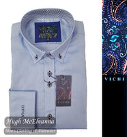 'JAMES' Blue Tailored Fit Shirt by Vichi Style: 2072