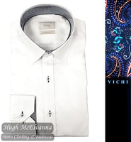 White Tailored Fit Shirt by Vichi Style: DW8