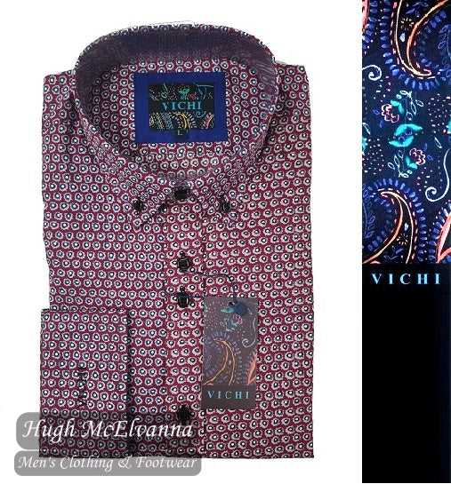 'DEN' Dk. Red Tailored Fit Shirt by Vichi Style: 2061