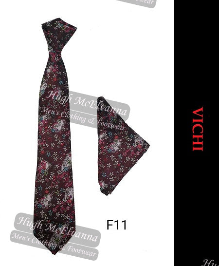 Tie & Pocket Square Set By Vichi Style: F11 2 Colour Options Available