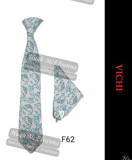 Tie & Pocket Square Set By Vichi Style: F62 Pink/Turquoise