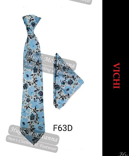 Tie & Pocket Square Set By Vichi Style: F63 - Available in 4 Colour Options