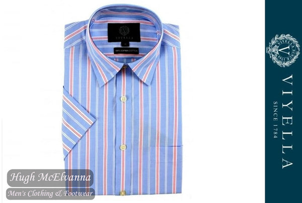 Viyella Classic Fit Blue Oxford Stripe Short Sleeve Supima Cotton Shirt Style: VY0527H-128