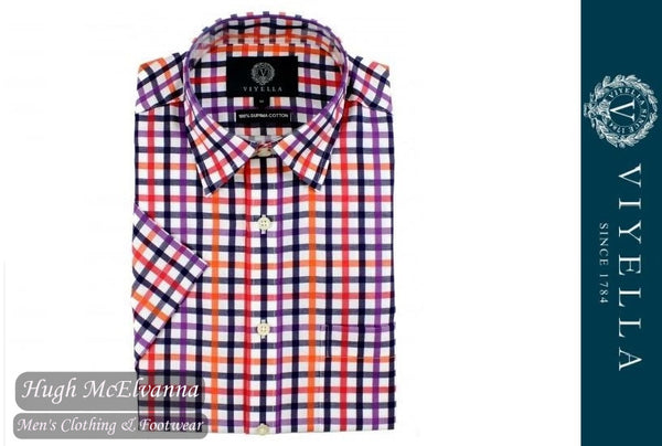 Viyella Classic Fit Navy Blue & Red Satin Check Short Sleeve Supima Cotton Shirt Style: 0530H-291