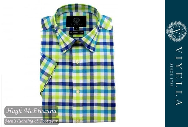 Viyella Classic Fit Green & Blue Oxford Check Short Sleeve Supima Cotton Shirt Style: VY0531H-090