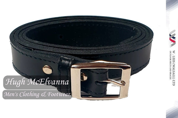 One Piece Black Leather Trouser Belt by W. Lees Style: 4033NP