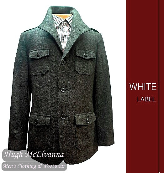 'MILITARY' Charcoal Herringbone Wool Rich Jacket by White Label Style: 4847