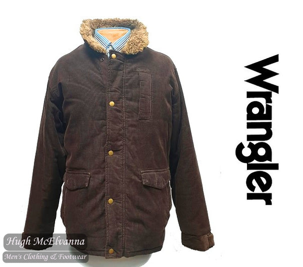 Wrangler Cord Puffer Jacket With Fleece Lining & Fur Collar Style: W41182382