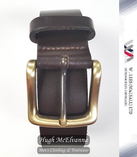 Brown Full Leather Belt by W. Lees - Hugh McElvanna Menswear
