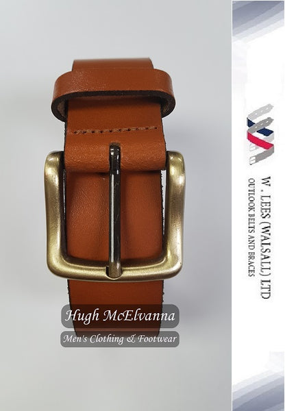 Tan Full Leather Belt by W. Lees