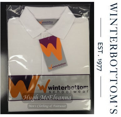 Plain Polo Shirt White by Winterbottom - Hugh McElvanna Menswear