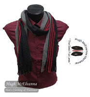 'JOHN' 100% Wool Stripe Scarf Available In Two Colours