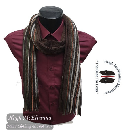 'PETER' 100% Wool Stripe Scarf Brown