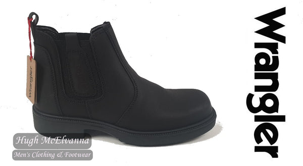 Black Gusset Boot With Rubber Sole by Wrangler Style: WM0310
