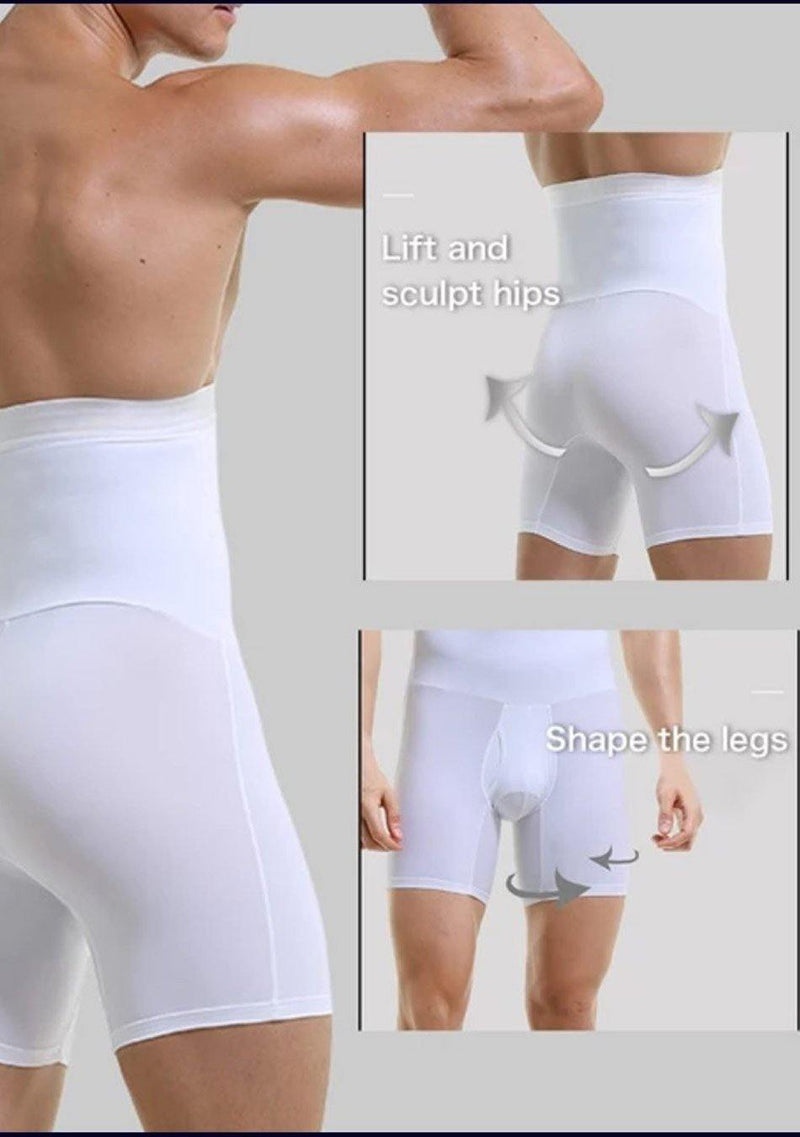 AQ White Men High Quality Slimming Underwear Tummy Leg  Complete Control High Waist Shaper Short Trunk - AnthonyQuintana.com