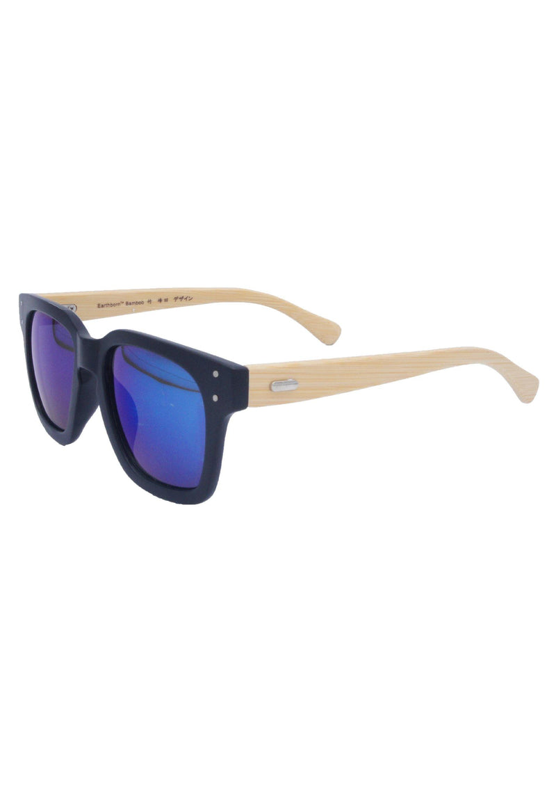 Anthony Quintana Projection Earth Bamboo Sunglasses , AQS WD3873 Blue Flash Mirror - anthonyquintana.com
