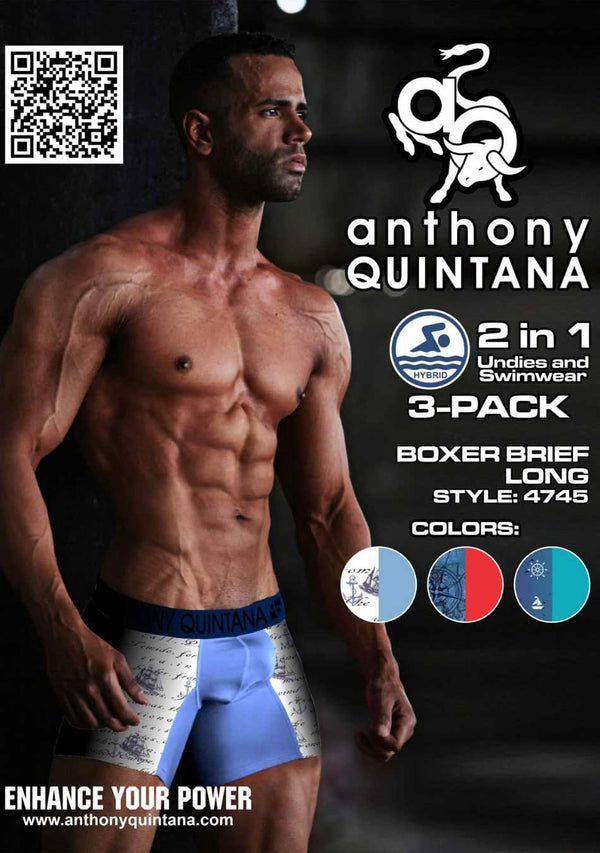 AQ Men's Hybrid Collection Boxer Long Briefs 3-Pack AQ4745