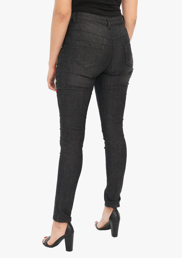 Broadway Avenue - Women's Embroidered Skinny Fit Black Stretch Jean (AQ1656W) - AnthonyQuintana.com