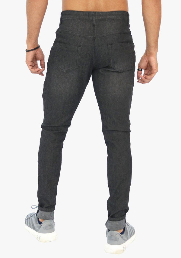 Bronx - Men's Skinny Fit Embellished Black Stretch Jean (AQ1656M) - AnthonyQuintana.com