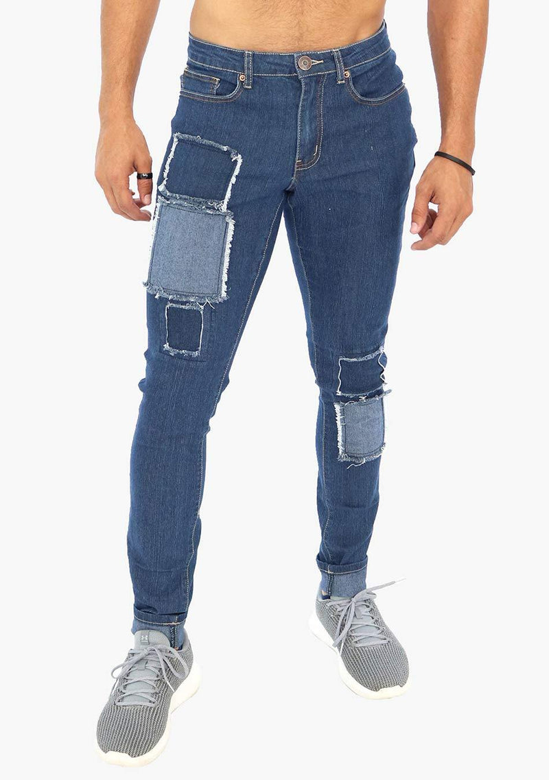 Brooklyn - Men's Patched Skinny Fit Stretch Jean (AQ1682M) - AnthonyQuintana.com