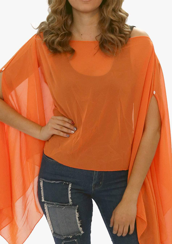 Fiji - Women's Chiffon Solid Color Kaftan Tunic - Joyful Orange (AQ1812) - AnthonyQuintana.com