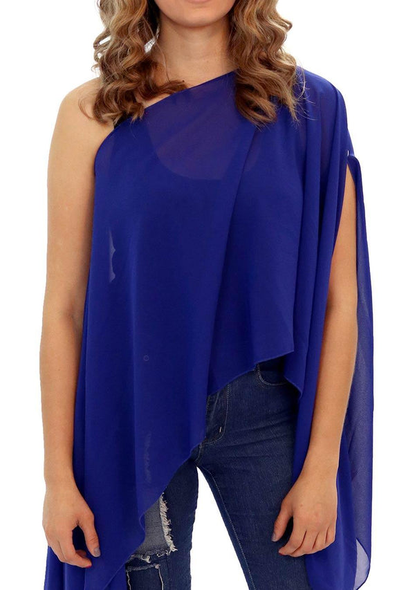 Hawaii - Women's Chiffon Solid Color Kaftan Tunic - Deep Sea Blue Solid (AQ1808) - AnthonyQuintana.com