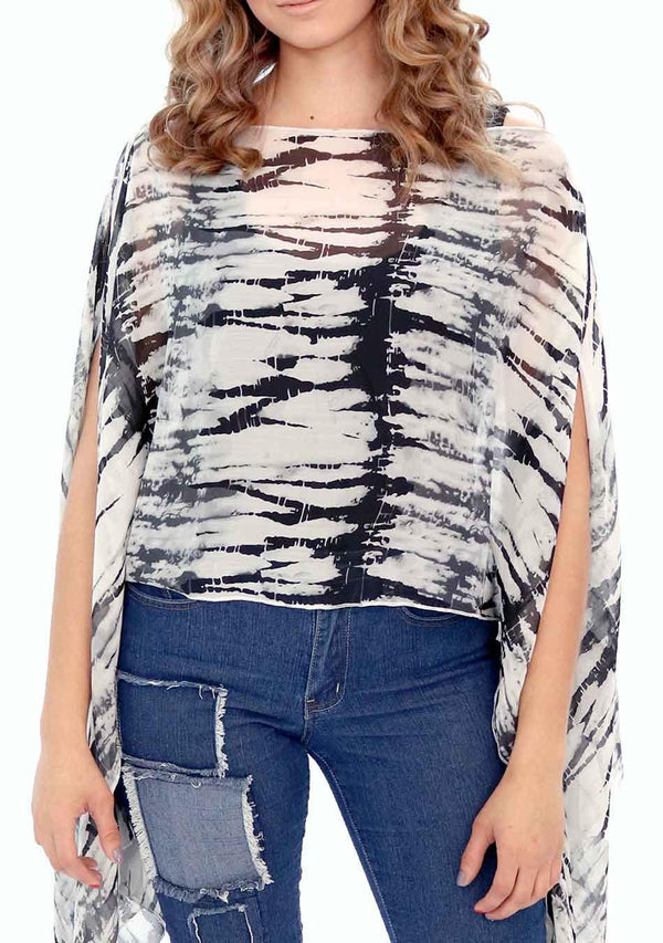 India - Women's Chiffon Print Kaftan Tunic - White and Black Tie-Dye (AQ1810B) - AnthonyQuintana.com