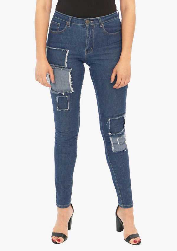 Lexington Avenue - Women's Patched Skinny Fit Stretch Jean (AQ1682W) - AnthonyQuintana.com