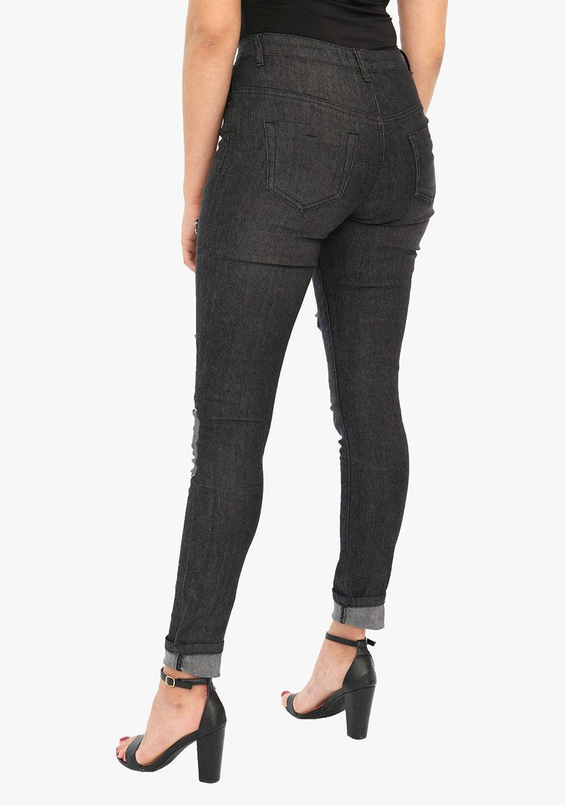Madison Avenue - Women's Ripped Skinny Fit Black Stretch Jean (AQ1683W) - AnthonyQuintana.com