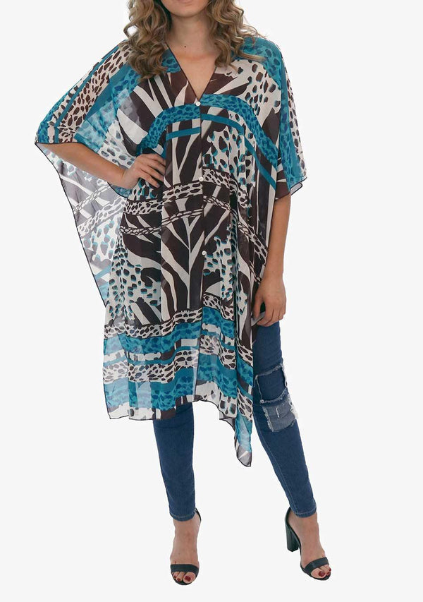 Monaco - Women's Chiffon Print Kaftan Tunic - Teal and Chocolate (AQ1805) - AnthonyQuintana.com