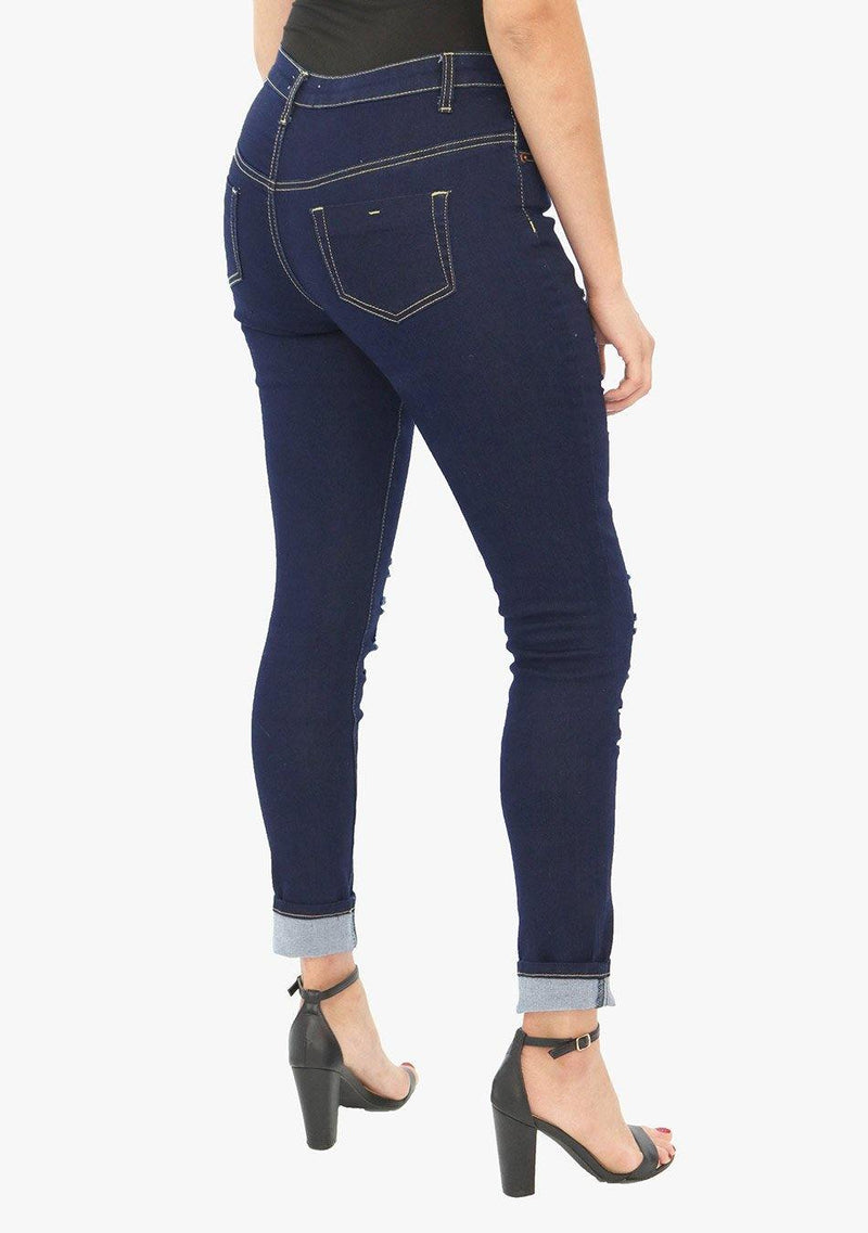 Park Avenue - Women's Ripped Skinny Fit Stretch Jean (AQ1657W) - AnthonyQuintana.com