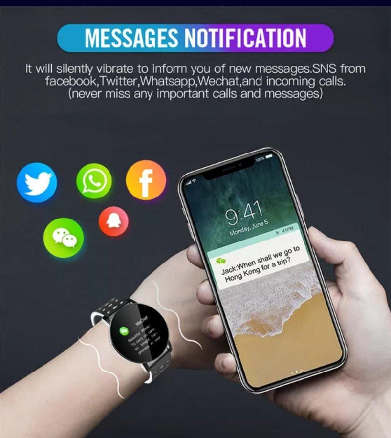 Smart Watch Bracelet,  Black.  Fashion, Professional  Intelligence, Your Healthy Companionship  Be Safe, Be Fashion