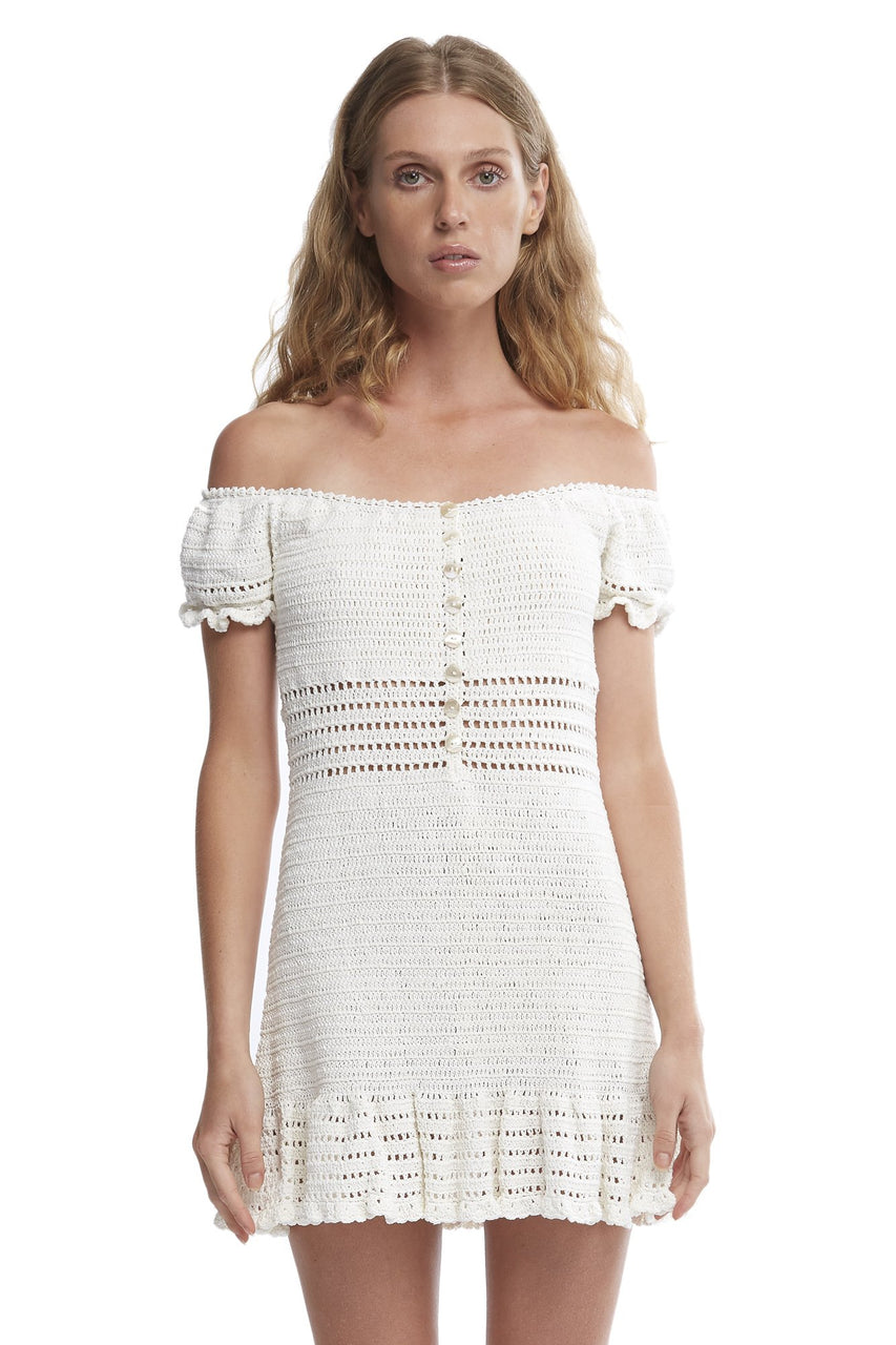 INIKA CROCHET OFF-THE-SHOULDER DRESS