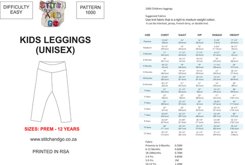 1000 Kiddies Unisex Leggings (Downloadable PDF Version)