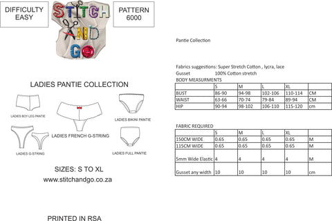 6000 Pantie Collection (Standard Printed Version)