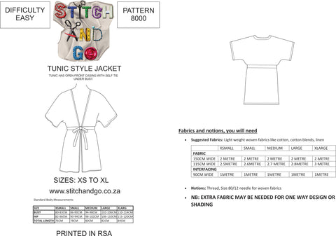 8000 Ladies Tunic Style Jacket Pattern (Standard Printed Version)