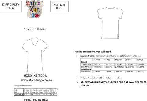8001 V Neck Tunic Pattern ( Standard Printed Version)